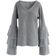 Chicwish Attractive Grey Ribbed Knit Sweater with Tiered Bell Sleeves ($49) ❤ liked on Polyvore featuring tops, sweaters, grey, chicwish tops, grey top, ribbed knit sweater, tier top and v neck bell sleeve top