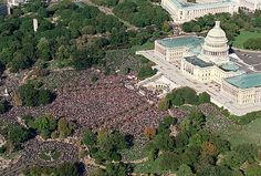 October 16 1995 The Million Man March is held in Washington, D.C. The event was conceived by Nation of Islam leader Louis Farrakhan.