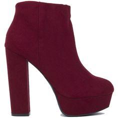 Platform Ankle Boots - Burgundy (€38) ❤ liked on Polyvore featuring shoes, boots, ankle booties, ankle boots, heels, burgundy, heeled booties, short boots, platform ankle boots and chunky heel booties