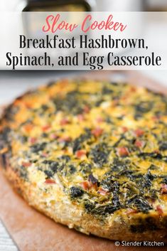 This easy and healthy Slow Cooker Breakfast Casserole with eggs, hashbrown potatoes, spinach, ham, and cheese makes the perfect make ahead meal for breakfast or brunch. This Weight Watchers recipe from Slender Kitchen is also gluten free. Ham Casserole, Slow Cooker Breakfast, Hashbrown Breakfast Casserole, Ww Recipes, Brunch Recipes, Breakfast Recipes, Healthy Recipes, Free Breakfast, Breakfast Ideas