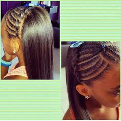 Pretty cornrow style for a little girl with straightened hair