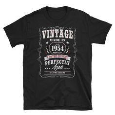 Vintage birthday shirt, 1954 birthday, aged perfection, birthday anniversary, birthday announcement, Short-Sleeve Unisex T-Shirt