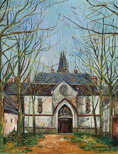 Find artworks by Maurice Utrillo (French, 1883 - on MutualArt and find more works from galleries, museums and auction houses worldwide. Maurice Utrillo, Urban Painting, Building Art, Chapelle, Barcelona Cathedral, Watercolor Art, Fairy Tales, Chartreuse, Iglesias