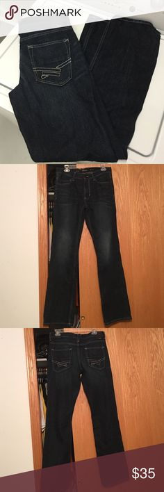 Helix slim boot 30x32 jeans in dark indigo Helix slim boot 30x32 jeans in dark indigo. Zip fly. These were worn one time by my son, and he didn't like them. Still look brand new. Also have another pair for sale that still has the tags attached. 100% cotton Helix Jeans