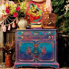 Home decor furniture needs by terrystweakedtiques on Etsy Funky Painted Furniture, Bohemian Furniture, Refurbished Furniture, Paint Furniture, Upcycled Furniture, Home Decor Furniture, Furniture Makeover, Furniture Decor, Furniture Design