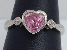 10K WHITE GOLD HEART SHAPED PINK ICE RING