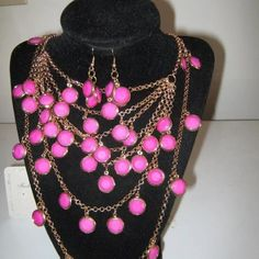 """Fuchsia Pink Necklace w/ Gold Chain Necklace Set Fuchsia pink necklace w/ matching earrings. Necklace is approx: 12.0"""" (L) and Earrings is approx: 1.0"""" (L) Jewelry Necklaces"""