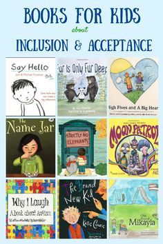 Books for kids about inclusion and acceptance, for related pins and resources follow` https://www.pinterest.com/angelajuvic/autism-special-needs/