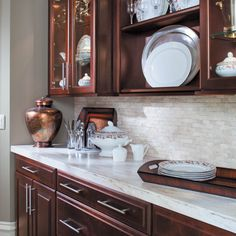 """HAPPY THANKSGIVING! """"What if today, we were just grateful for everything?"""" -Charlie Brown  #waypointlivingspaces #kitchencabinets #CherryMerlot Maple Cabinets, Cherry Cabinets, New Kitchen Cabinets, Updated Kitchen, Kitchen Colors, Humble Abode, Happy Thanksgiving, Cabinet Doors, Charlie Brown"""