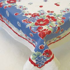 Most popular pattern, the vintage-inspired berry tablecloth is a reproduction of a very common design from the good ol' days. All table linens are 100% cotton and machine washable (52″ x 65″).