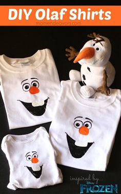 Disney Frozen Craft DIY Olaf Shirts - easy to make and SO cute! Thse Olaf shirts would be so cool if you made them & then wore them for family Christmas pictures! Disney Frozen Crafts, Frozen Disney, Disney Diy, Disney Olaf, Frozen Frozen, Disney 2015, Disney Ideas, Frozen Themed Birthday Party, Frozen Party