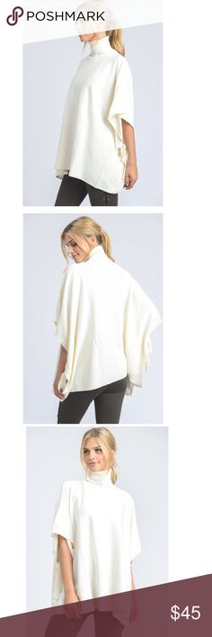 Turtle neck knit tunic This boho-chic turtle neck tunic features loose sleeves with ribbon tie accent on the bottom of the sleeves. 55% cotton, 45% acrylic. Tops Tunics
