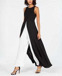 Adrianna Papell Petite Crepe Colorblock Jumpsuit & Reviews - Dresses - Petites - Macy's