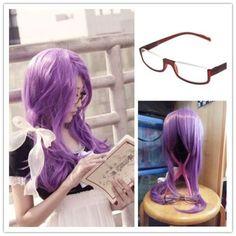Tokyo Ghoul Kamishiro Rize Purple Mix Straight Long Wig Cosplay Ribbon Glasses