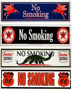 Vintage No Smoking signs from Gas Pump Heaven www.gaspumpheaven.com