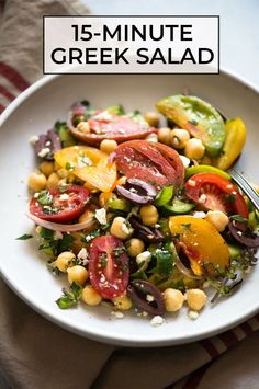 This simple Greek salad with chickpeas is a healthy, fresh salad that is filled with sliced heirloom tomatoes, cucumbers, kalamata olives and feta. It comes together in a breeze—15 minutes is all you need! #sponsored #vegetarian #glutenfree #greek #mediterranean #salad Healthy Gluten Free Recipes, Easy Delicious Recipes, Vegetarian Recipes, Easy Cooking, Healthy Cooking, Healthy Eating, Healthy Food, Lunch Recipes, Appetizer Recipes