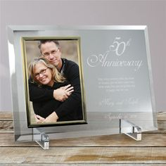 Picture Frame is a heavy-weight glass with beveled edges on all sides, accented with silver brass frame trim. Picture Frame measures x and holds a x photo; includes clear easel legs for top display. Unique Anniversary Gifts, Anniversary Gifts For Parents, Anniversary Pictures, First Wedding Anniversary, Anniversary Frames, Personalized Memorial Gifts, Personalized Anniversary Gifts, Traditional Anniversary Gifts