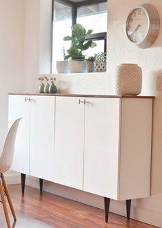 Ikea hack - kitchen cabinets as sideboard Mid Century look