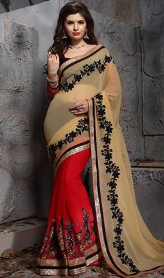 Be under the spotlight donning this red and beige color georgette half n half sari. The ethnic lace and resham work to your saree adds a sign of beauty statement for your look. #georgettesarees #georgettehalfnhalfsari #halfnhalfsaree