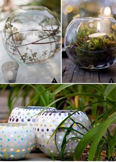 Upcycled Fish Bowls : center pieces