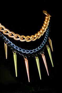 Gold Black & Blue Layered Chain Necklace by xoMeganTierney on Etsy, $40.00