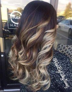 Silvery Blonde & Chocolate Balayage Highlights on Dark Hair