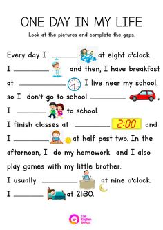 Ejercicio de One day in my life English Grammar For Kids, Learning English For Kids, English Worksheets For Kids, English Reading, English Activities, Learn English Words, English Lessons, English Vocabulary, Teaching English