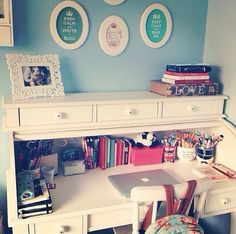 I like the different color walls and frames inside ...perfect for built in desk