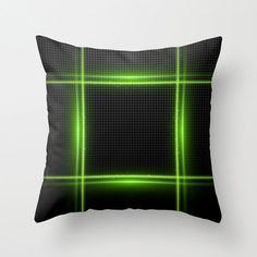Neon Green Pillow Black Pillow Technology pillow IT by NikaLim