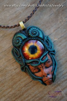 Shaman Spirit Sacred Spiral Pendant-unisex mens dragon eye amulet polymer clay gothic green jewelry wild archaic enchanted forest amazone    by ChaNoJaJewelry