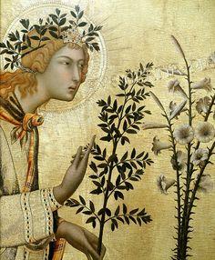 Simone Martini Annunciation (detail) 1333 tempera on panel Siena, Renaissance Kunst, Italian Paintings, Archangel Gabriel, Italian Art, Tempera, Angel Art, Medieval Art, Gothic Art
