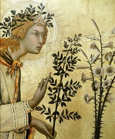 """Annunciation (1333)  Simone Martini Fin de la période gothique. Le personnage et le fond sont tous les deux dans des tons jaunes cependant ce dernier étant or la lumière vient différencier les deux éléments et permet de faire ressortir la Vierge. Les plantes en clair-obscur participent également à mettre en place cette impression de clarté """"divine"""" venant de l'arrière-plan du tablea."""