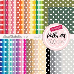 Polka dot papersSeamlessrepeatabledotsrainbow   Etsy Polka Dot Paper, Polka Dots, Simple Collage, Embroidery Files, Collage Sheet, Paper Background, Rainbow Colors, App Design, Clip Art