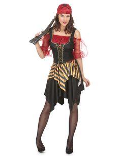 Costume pirata donna: Questo travestimento da pirata per donna è composto da una maglia, un gilet, una gonna e una bandana (scarpe, collant e accessori non inclusi). La maglia rossa possiede maniche in tulle e nastri...