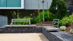 Wishbone customized for wall, at Royal Island Hospital in Kamloops BC Island Hospital, Gabion Wall, Benches, Arch, Skyline, Patio, Landscape, Outdoor Decor, Furniture