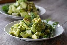 Cucumber, Avocado, Feta Salad(used Italian shred cheese in a pinch) Chicken And Veggie Recipes, Vegetarian Recipes Easy, Healthy Salad Recipes, Vegetable Recipes, Cooking Recipes, Roasted Garlic Hummus, Feta Salat, Cucumber Recipes, Paleo