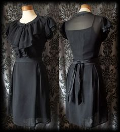 Gothic Black Sheer Frilled SOLITUDE Buttoned Tea Dress 10 12 Victorian Vintage - £36.00