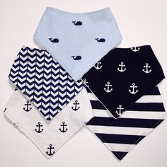 Bandana Bibs- Whales, Anchors, Stripes & Chevron- Bibdana- Nautical Bibs- Baby Boy Bib Set- Drool Bib- Drool Scarf- Pricing Starts For 2 by ChristyRaynDesigns on Etsy
