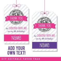 Disco Dance Party Editable Favor Tags (INSTANT DOWNLOAD)