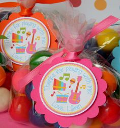 12 Music Birthday Party Favor Thank You by sweetheartpartyshop