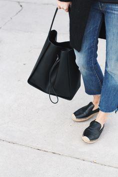 Mother Denim jeans, 3.1 Phillip Lim bucket bag & Acne Studios cardigan | Mija Flatau