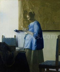Woman in Blue - Johannes Vermeer van Delft is currently on display at The Timken Museum is Balboa Park in San Diego, California on loan until from the Rijksmuseum, Amsterdam. Johannes Vermeer, Delft, Caravaggio, Vermeer Paintings, Dutch Golden Age, Dutch Painters, European Paintings, Dutch Artists, Oil Painting Reproductions