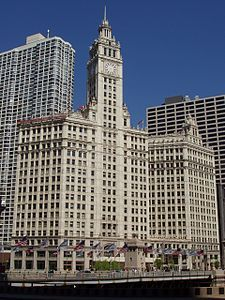 Wrigley Building When ground was broken for the Wrigley Building in 1920, there were no major office buildings north of the #Chicago River and the Michigan Avenue Bridge, which spans the river just south of the building was still under construction.