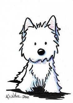 Art: Standing Westie by Artist KiniArt                              …