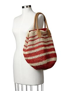 Striped straw tote Product Image