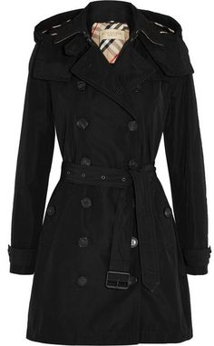 Burberry Brit - Balmoral Packaway Hooded Shell Trench Coat - Black