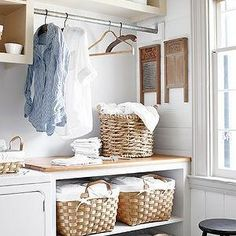 Country Living - laundry/mud rooms - country laundry room, laundry room shelves, laundry room cubbies, laundry sorters, laundry room sorter, laundry room cabinets, laundry room,