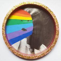 Find your rainbow  #hellothemushroom #reworked #rainbow #posca #poscapens #markers #artwork #objetdart #glitter #brutsubmission #collage #collageart
