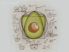 """The Divine Recipe"" by Walmazan Guacamole recipe in the style of Vitruvian Man Avocado Art, Cute Avocado, Food Illustrations, Illustration Art, Avocado Tattoo, Cute Food, Food Art, Cactus, Doodles"