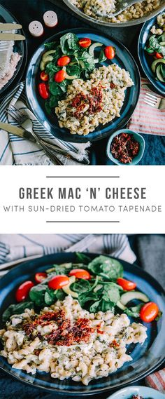 Greek Mac N' Cheese! Using Sun-dried tomato tapenade, spinach-cucumber salad, a dinner for the whole family. Recipe here: https://greenchef.com/recipes/family-greek-mac-n-cheese?utm_source=pinterest&utm_medium=link&utm_campaign=social&utm_content=Greek-Ma